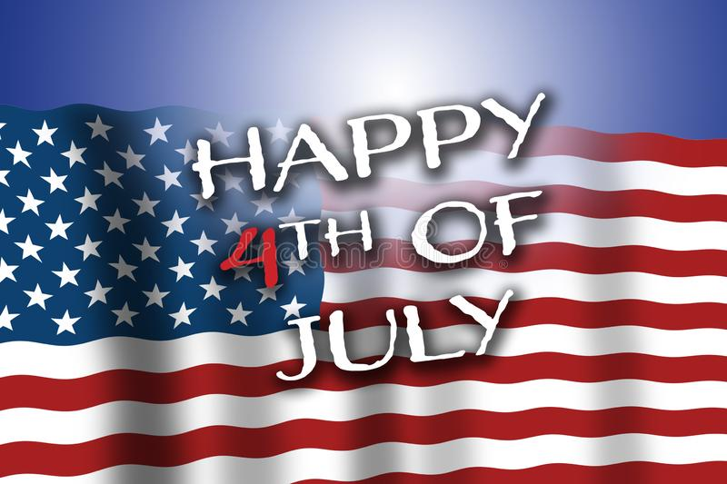 4th of July. The USA are celebrating patriotic holiday.  American flag waving with Happy 4th of July text. Light reflection in bac royalty free stock photos