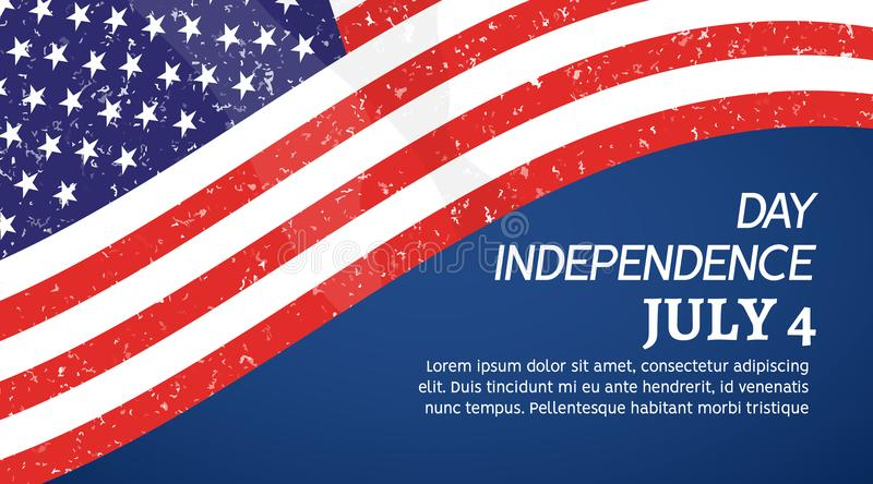4th July USA flag background. Independence Day America poster. American independence celebration vector illustration