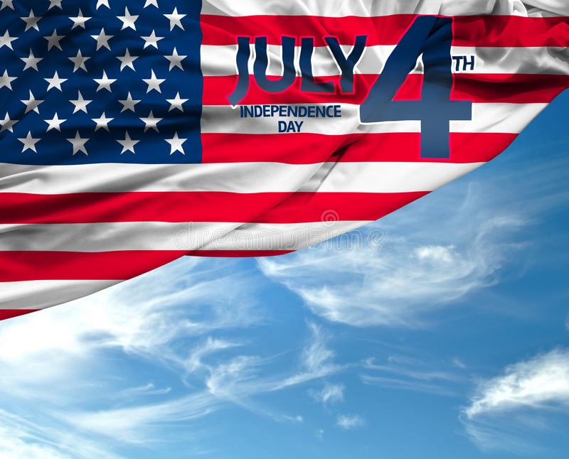4th July USA flag on beautiful day royalty free stock image