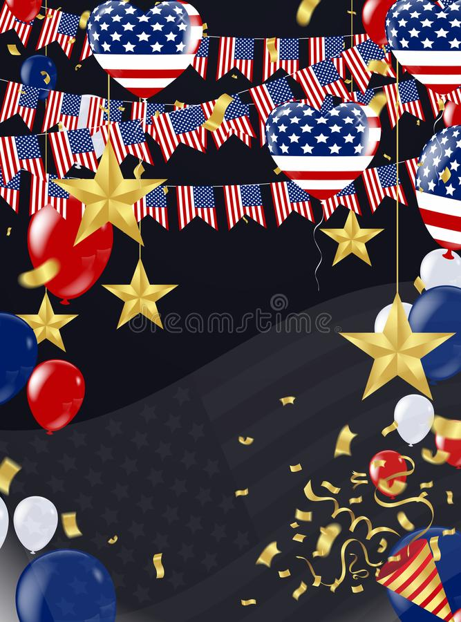 4th of july USA gold balloons happy Independence Day poster design, stock illustration
