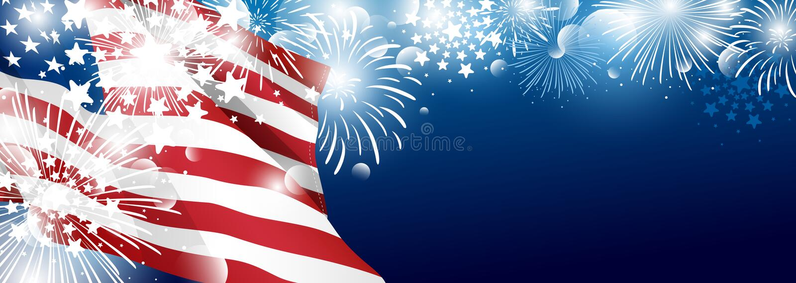 4th of july USA Independence day banner background design of American flag with fireworks stock illustration