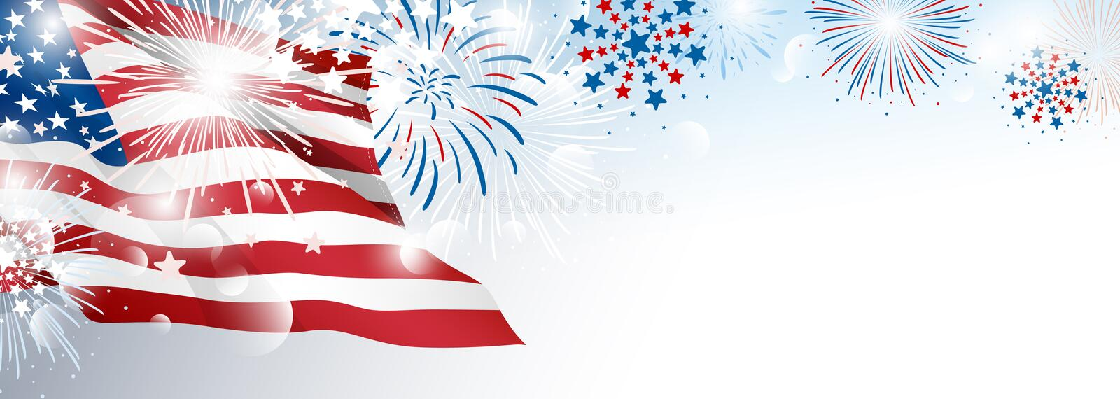 4th of july USA Independence day banner background design of American flag with fireworks royalty free illustration