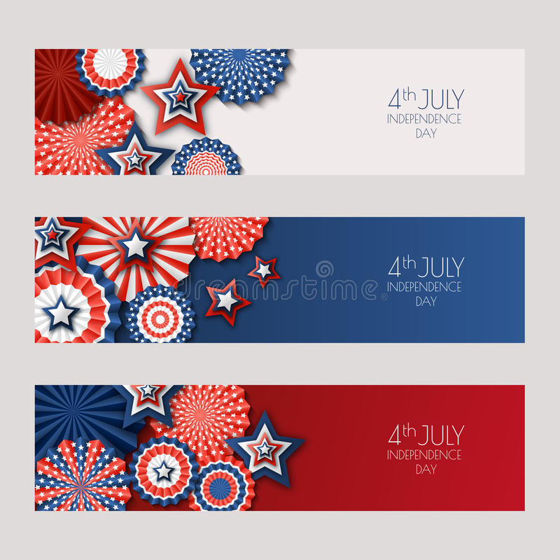 4th of July, USA Independence Day banners with paper stars in USA flag colors. Holiday backgrounds set. royalty free illustration