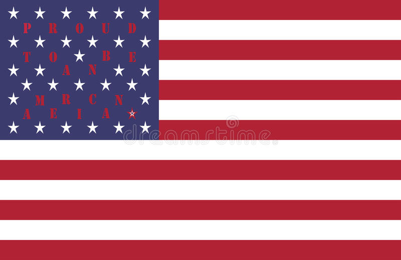 4th of July USA Independence Day celebration pattern vector background design with quote Proud to be an American on flag stock illustration