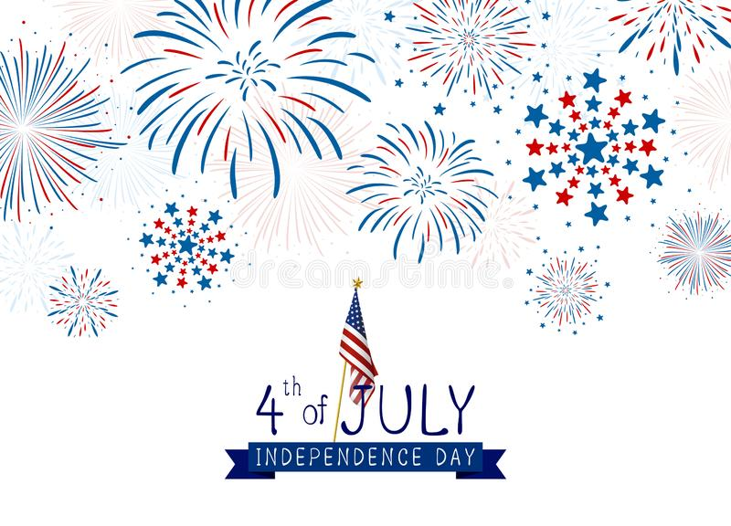 4th of july USA Independence day design of fireworks on white background vector illustration stock illustration