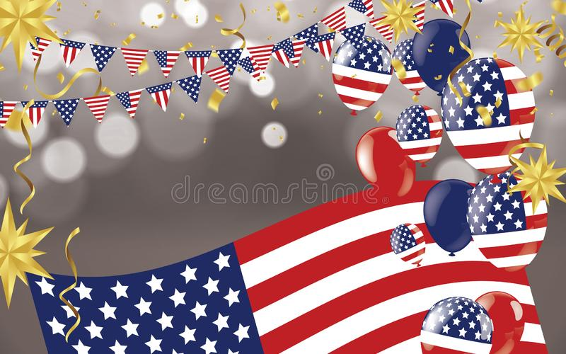 4th of july usa independence day, vector template with american flag and colored balloons on blue shining starry background. Fourth of july, USA national vector illustration