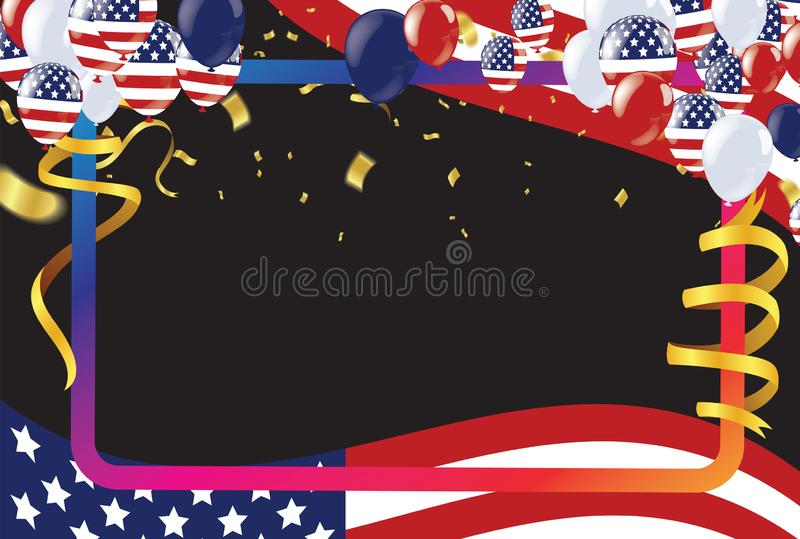 4th of july usa independence day, vector template with american flag and colored balloons on blue shining starry background. royalty free illustration