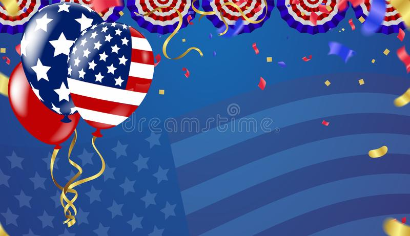 4th of july usa independence day, vector template with american flag and colored balloons on blue shining starry background. stock illustration