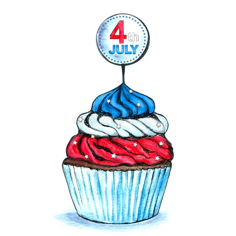 4th July USA Independence Day Watercolor Cupcake with Badge. United States Independence Day 4 th July celebration Cupcake. Watercolor hand drawn isolated. Badge vector illustration