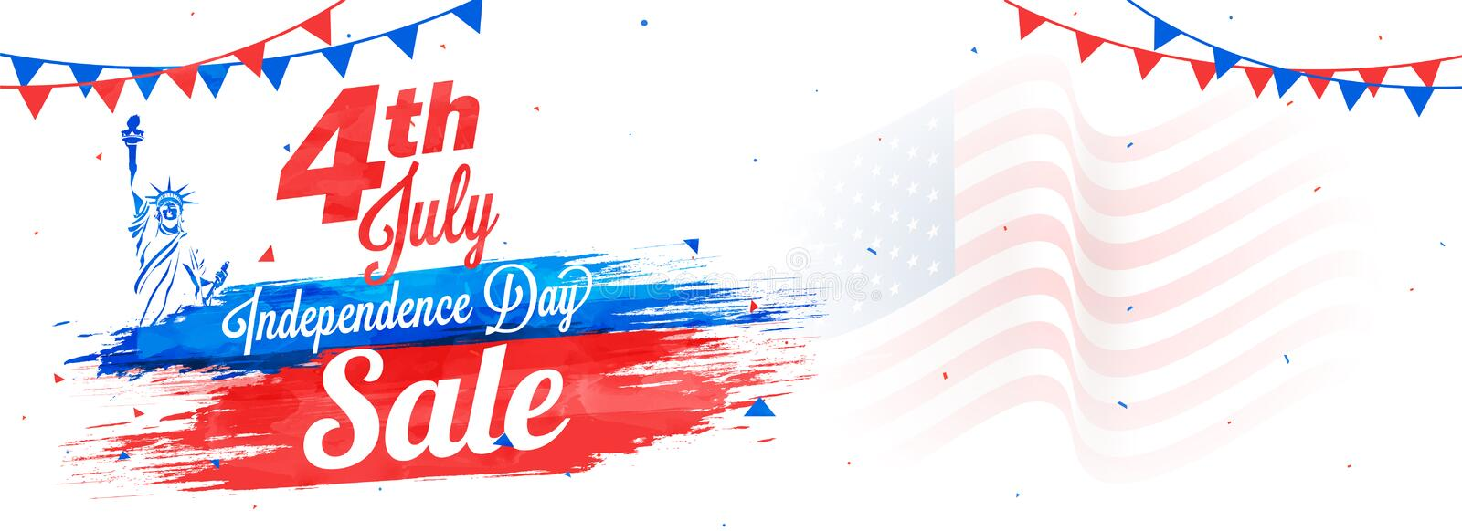 4th of July, web sale banner design, Statue of Liberty, and waving flag. stock illustration