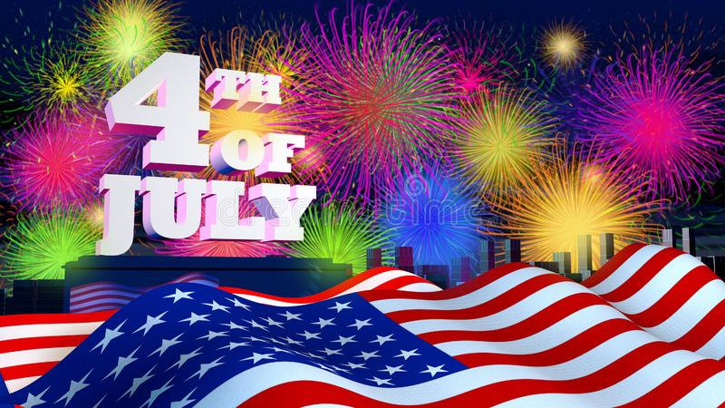 4th of July in white and thick letters on a city background with the night sky full of fireworks vector illustration