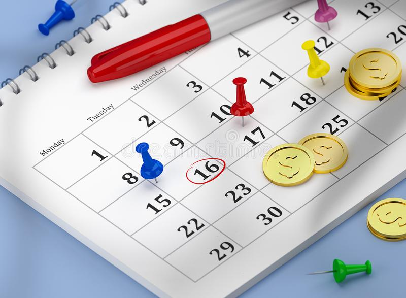 16th kalender med ben och guld- mynt Lönelista- eller skattbegrepp stock illustrationer