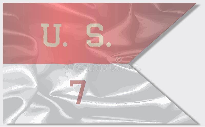 7th kawaleria jedwabiu flaga ilustracja wektor