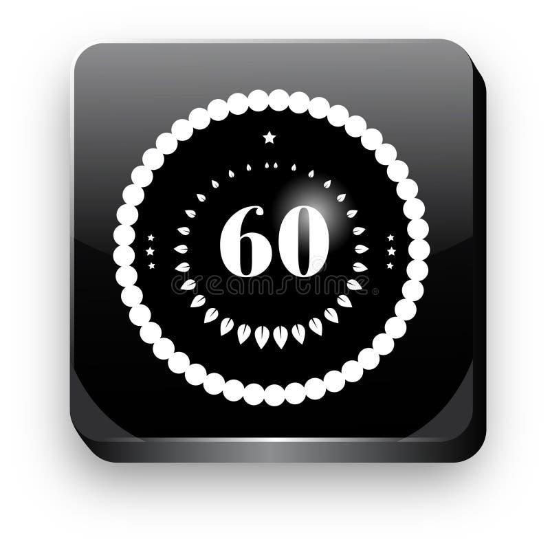 60th knapp för etikett 3d för medalj för vektorillustrationsvart vektor illustrationer
