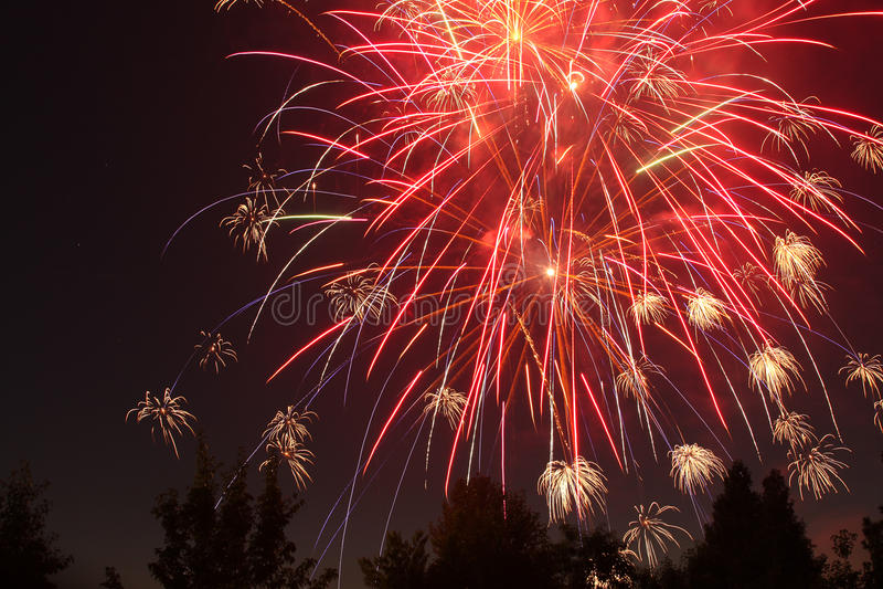 4th Lipów fajerwerki w Eagle punkcie, Oregon obraz stock