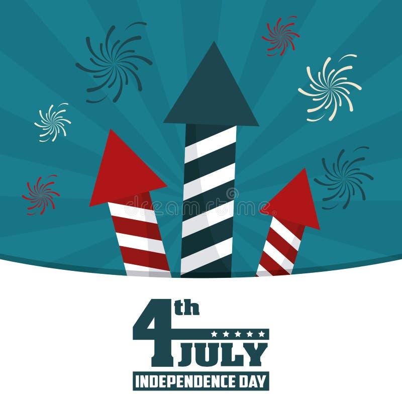 4th Lipa dnia niepodległości fajerwerków rakiet świąteczny świętowanie ilustracja wektor