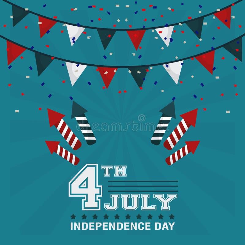 4th Lipa dnia niepodległości girlandy confetti fajerwerków projekt royalty ilustracja