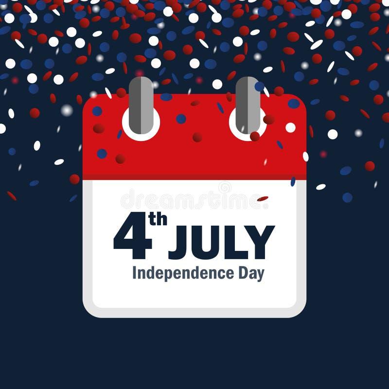 4th Lipa dnia niepodległości usa confetti i kalendarz ilustracji
