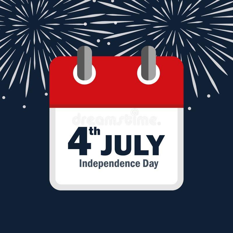 4th Lipa dnia niepodległości usa fajerwerk i kalendarz ilustracji