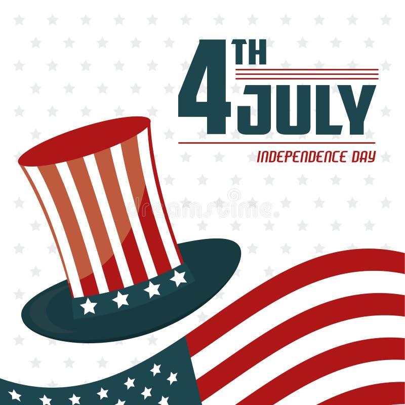 4th Lipa dnia niepodległości usa flaga świętowania kapeluszowy projekt royalty ilustracja