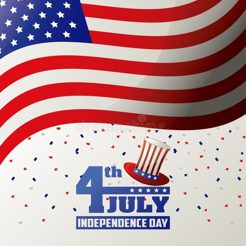 4th Lipa dnia niepodległości usa flaga falowania confetti świętowania projekt ilustracja wektor