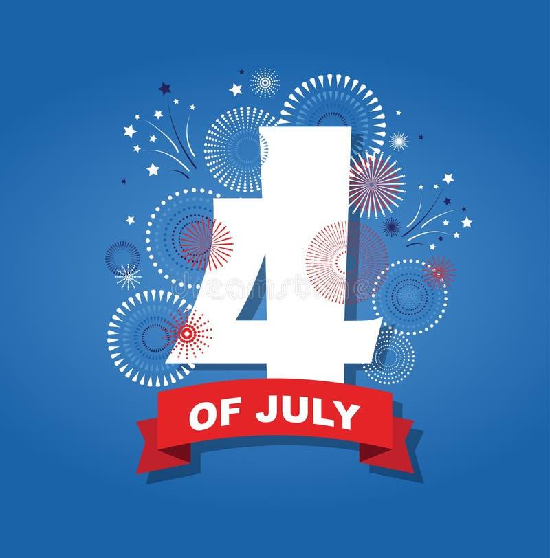 4th Lipa fajerwerków tło świętowań usa dnia niepodległości symbol zlana stan wolność, patriotyczny wakacje ilustracja wektor