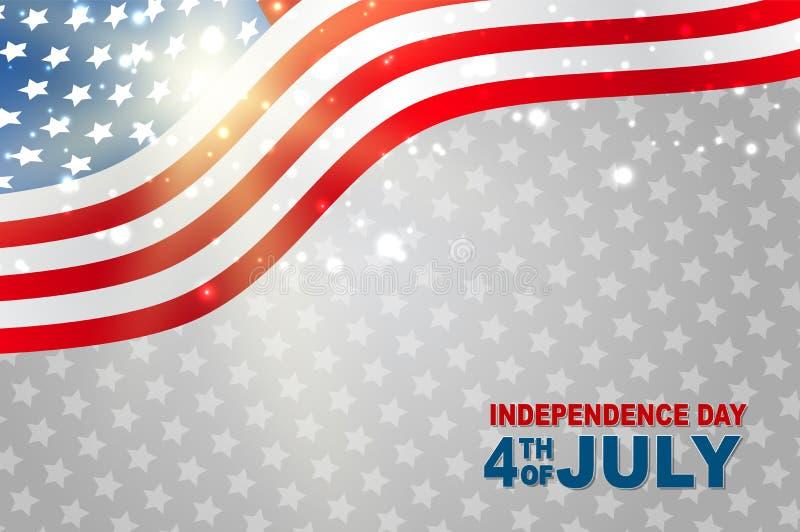 4th Lipa Stany Zjednoczone dnia niepodległości krajowego świętowania rozjarzony tło z flagą amerykańską Partyjny poj?cie royalty ilustracja