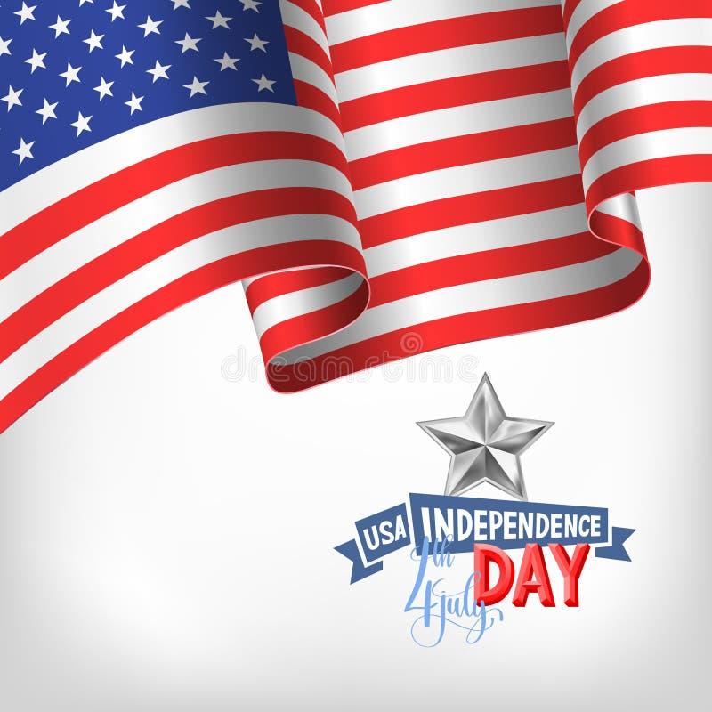 4th Lipa usa dnia niepodległości sztandar z flaga amerykańską ilustracja wektor