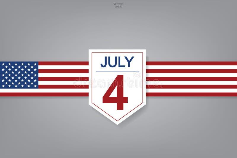 4th Lipiec - Abstrakcjonistyczny tło znak, symbol dla USAUnited stanów Ameryka dzień niepodległości i royalty ilustracja