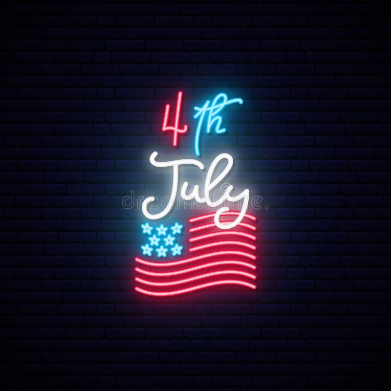 4th Lipiec, dnia niepodległości świętowania usa neonowego znaka sztandar ilustracji