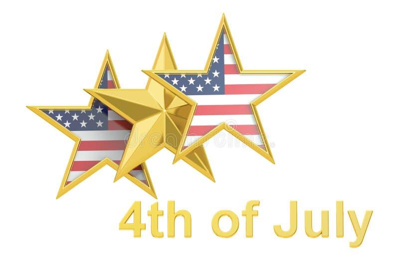 4th Lipiec, dnia niepodległości pojęcie z gwiazdą i usa, zaznaczamy, 3D ilustracja wektor