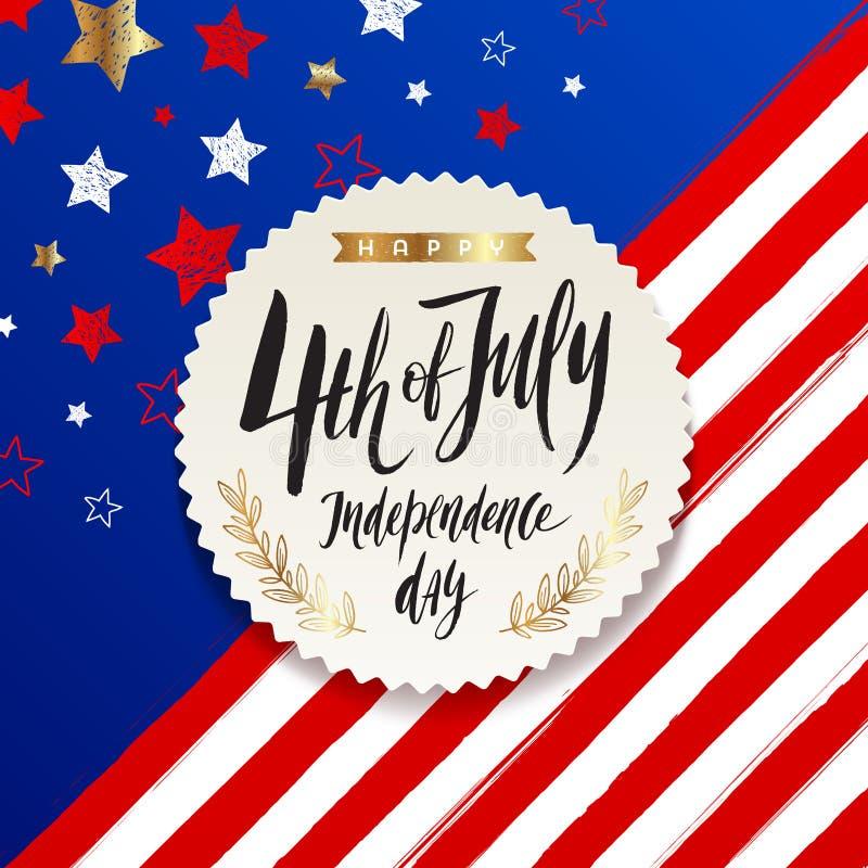 4th Lipiec, dzień niepodległości - etykietka z szczotkarskim kaligrafii powitaniem na gwiazdy i lampasa usa patriotyczny tło ilustracja wektor