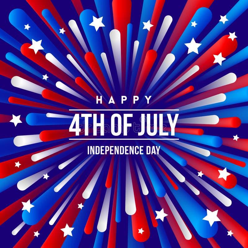 4th Lipiec, dzień niepodległości - powitanie projekt z usa kolorów fajerwerku wybuchu patriotycznymi promieniami ilustracja wektor
