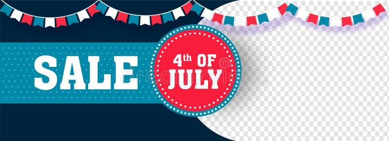 4th Lipiec, dzień niepodległości sprzedaży chodnikowiec lub sztandaru projekt z przestrzenią, royalty ilustracja