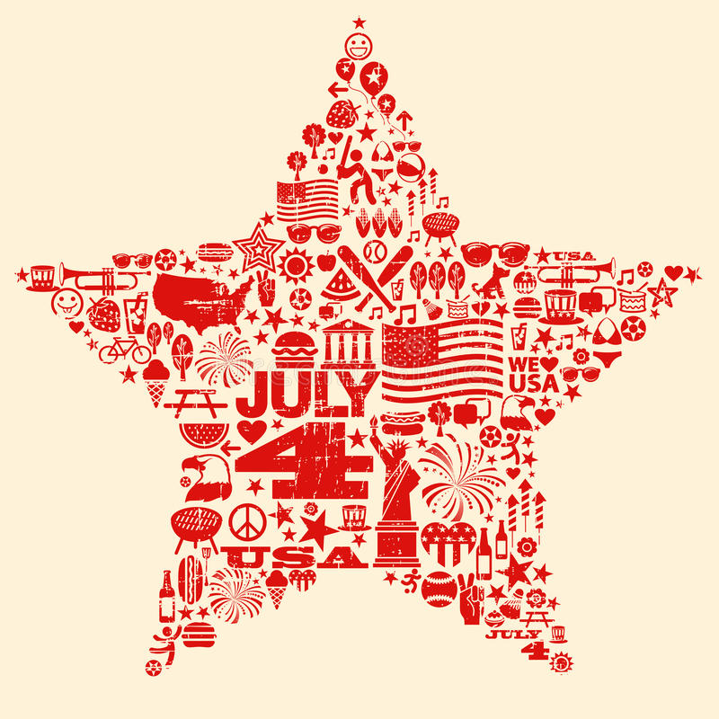 4th Lipiec ikony symboli/lów kolażu ilustracja Sh ilustracji
