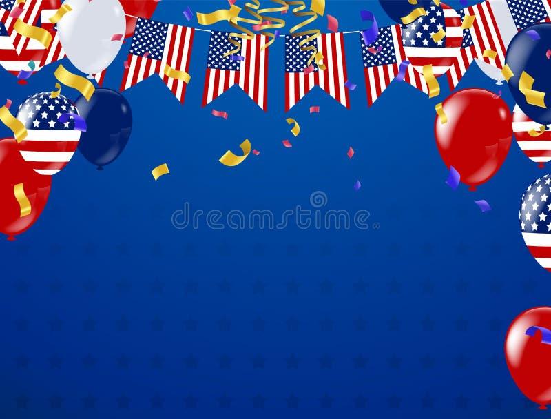 4th Lipiec, Szczęśliwego dnia niepodległości sztandaru Wektorowa ilustracja, U ilustracji
