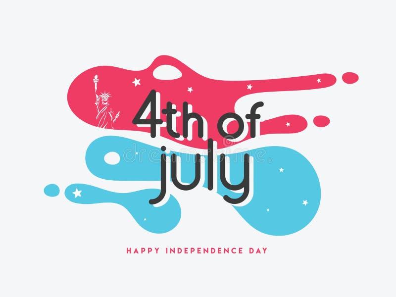 4th Lipiec, Szczęśliwy dnia niepodległości sztandar lub plakatowy projekt z usa flagą, royalty ilustracja