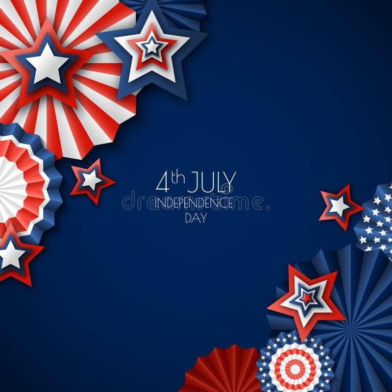 4th Lipiec, usa dzień niepodległości Wektoru papieru gwiazdy w usa flaga kolorach Błękitny tło z miejscem dla teksta ilustracji