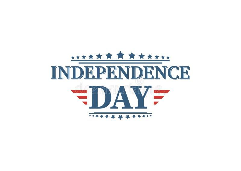 4th Lipiec, Zlany Twierdzić dnia niepodległości powitanie Czwarty Lipa typograficzny projekt Używalny jako kartka z pozdrowieniam ilustracji