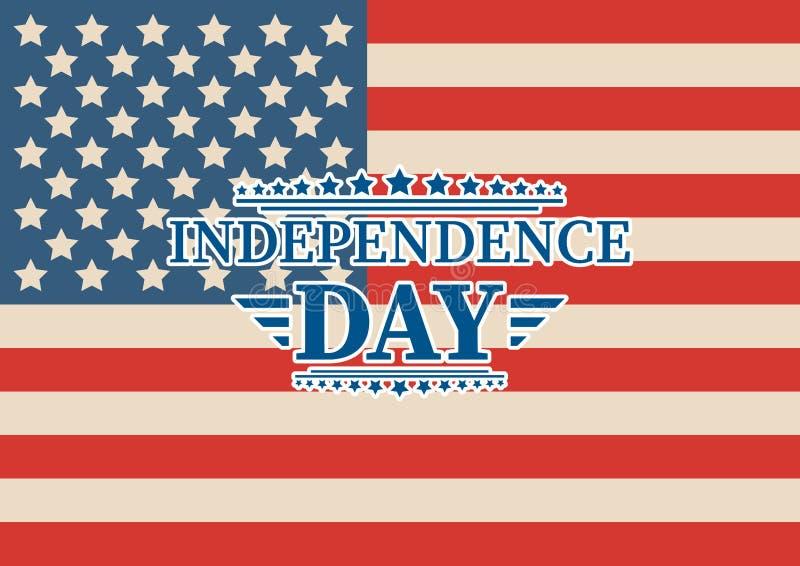 4th Lipiec, Zlany Twierdzić dnia niepodległości powitanie Czwarty Lipa typograficzny projekt Używalny jako kartka z pozdrowieniam ilustracja wektor