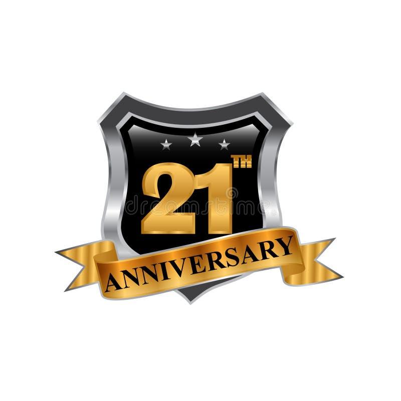21th logo d'icône d'anniversaire d'années Élément de conception graphique illustration stock