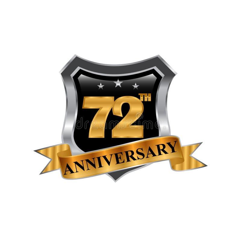 72th logo dell'icona di anniversario di anni Elemento di disegno grafico illustrazione di stock