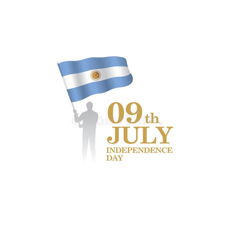 9th logo Juli för nationell dag med den Argentina flaggan royaltyfri illustrationer