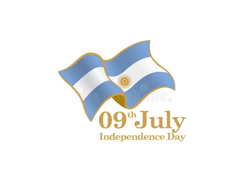 9th logo Juli för nationell dag med den Argentina flaggan stock illustrationer