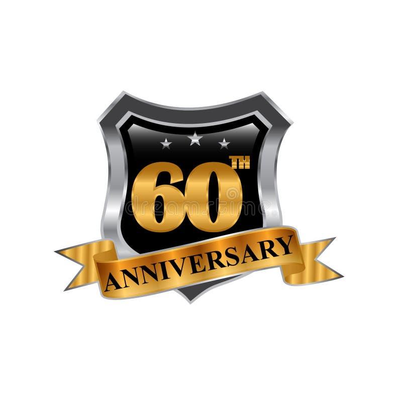 60th logotipo do ícone do aniversário dos anos Elemento do projeto gráfico ilustração stock