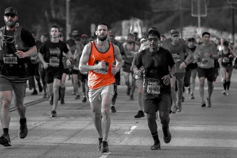 34th Los Angeles maraton, stadion till havet - mars 24, 2019 som segras av Elisha Barno (man) och Askale Merachi (kvinnlig fotografering för bildbyråer
