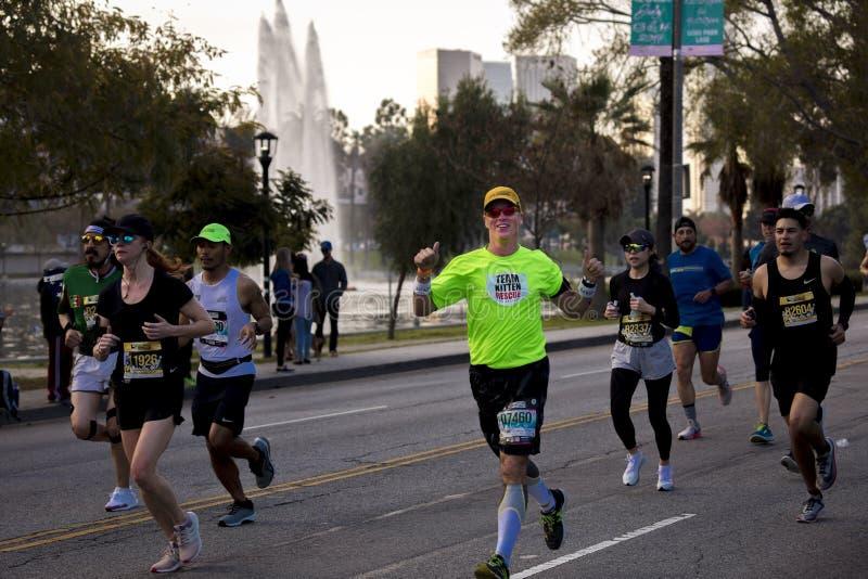 34th Los Angeles maraton, stadion till havet - mars 24, 2019 som segras av Elisha Barno (man) och Askale Merachi (kvinnlig royaltyfri fotografi