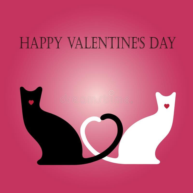 14th Luty - Szczęśliwa walentynka dnia kotów karta ilustracja wektor