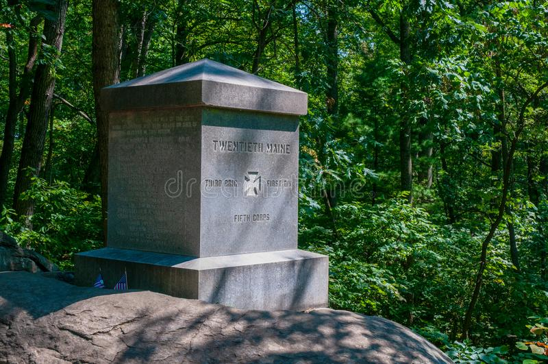 20th Maine Monument Little Round Top. Position of the 20th Maine Regiment led by Col. Joshua Chamberlain, where repeated charges by Confederate troops were royalty free stock photo