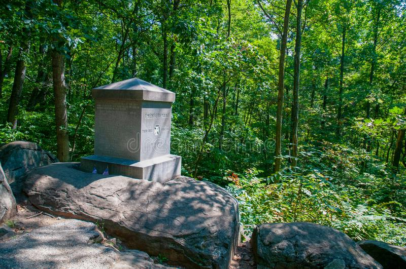 20th Maine Monument Little Round Top. Position of the 20th Maine Regiment led by Col. Joshua Chamberlain, where repeated charges by Confederate troops were stock photos